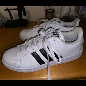 Adidas Woman Black and White Striped Shoes
